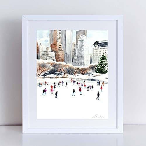 Amazon.com: Central Park Ice Skating Art Print Watercolor