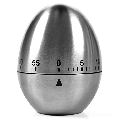 Kitchen Timer Manual, LEMEGO Stainless Steel Egg Shaped Mechanical Rotating Alarm with 60 Minutes for Cooking - Rotating Alarm