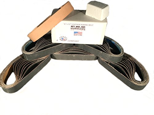 """3/4""""x12"""" Ken Onion Leather & Abrasive Belt Pack- 120, 400, 600, 800, 1000 & Leather Belt w Compound by Pro Sharpening Supplies (Image #1)"""
