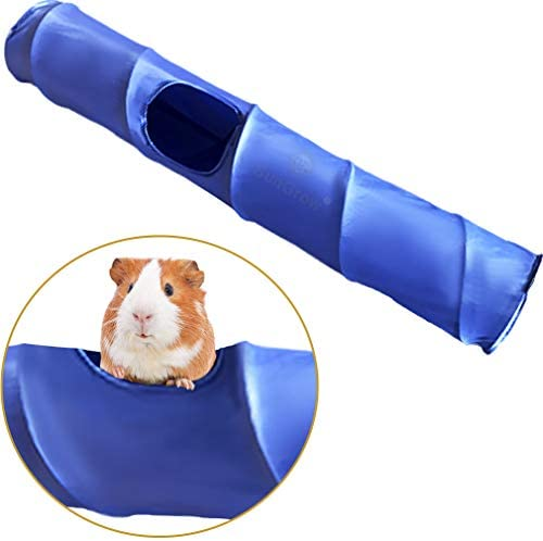 SunGrow Guinea Pig Tunnel, Works Alone or Attach to Tunnels, Soft Fabric Activity Center Extends 35 , Three 5.9 Openings for Dwarf Rabbits, Rats, 1-Piece, Blue Color