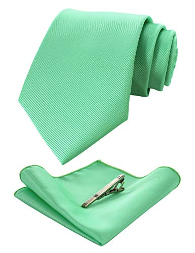 JEMYGINS Palegreen Formal Necktie and Pocket Square Tie Clip Sets for Men (38)
