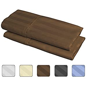100% Egyptian Cotton, 540 Thread Count 2 Pack Striped King Size Pillowcases - 4 Colors With Wrinkle Guard To Choose From - fits 20x36 (Color Chocolate)