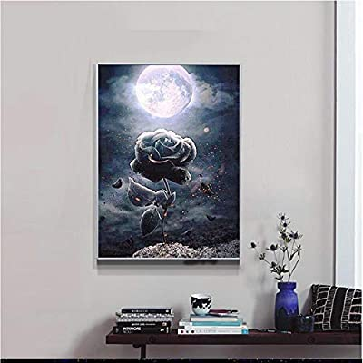Diamond Paintings WisLotife Full Drill Round Rhinestone Crystal Embroidery Pictures for Home Wall Decoration Skull Rose 12x 16