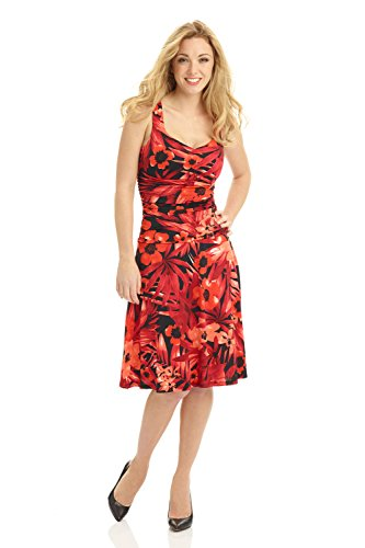 Rekucci Women's Sleeveless Fit and Flare Tummy Control Dress with Sweetheart Neckline (14,Hot Floral) (Floral Ensemble)