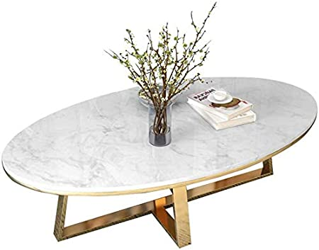 Sunbaobao Salle A Manger Table Salle Table Basse De Marbre Ovale
