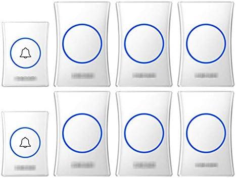 壁のプラグインコードレスドアチャイム、防水ドアベルキットのプラグ、1000フィートの範囲で最高のコードレスドアチャイム38チャイム4レベルボリューム(2つのプッシュボタンと6つのレシーバー),白