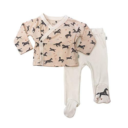 Finn + Emma Organic Cotton Kimono Shirt and Footed Pants Set for Baby Boy or Girl - Wild Horses, 3-6 Months