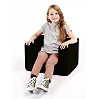 Children's Comfy Foam Armchair in Black. Soft, Colorful, Comfortable & Lightweight with a Removeable Cover