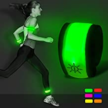 LED Slap Armband - Light Up Night Safety Wrist Band Bracelets with Replace Batteries - Glow in the Dark for Running, Cycling, Biking, Walking by Bseen