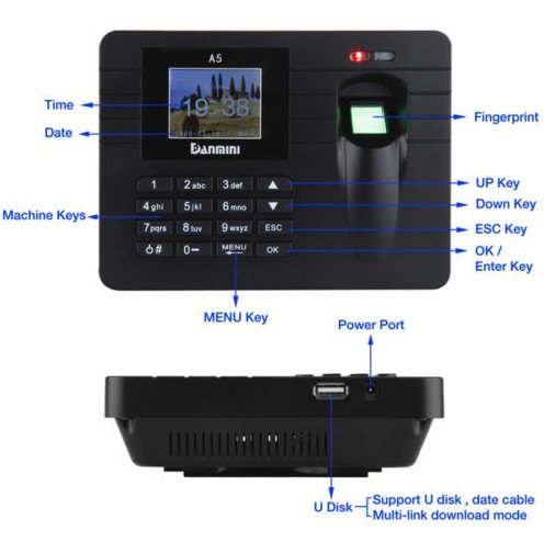 2.4'' TFT Attendance Clock Machine Fingerprint Sensor Employee Staff Time Payroll Recorder Colorful Screen Software Free Office Factory Hotel School Use