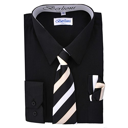 Boy's Dress Shirt, Necktie, and Hanky Set - Black, Size 20
