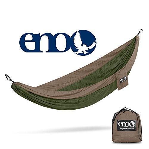 Eagles Nest Outfitters ENO SingleNest Hammock, Portable Hammock for One, Khaki/Olive