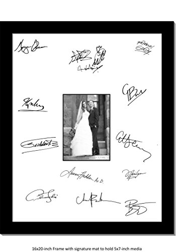 Wedding Autograph Photo Frame - CreativePF [5x7-16x20bk-w] Signature Frame - Photo Frame with White Mat Holds 5x7-inch Media Including Installed Wall Hangers