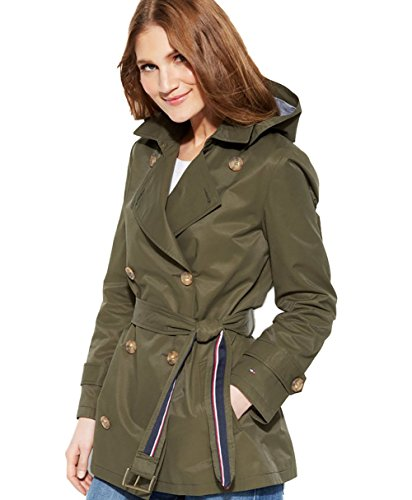 Tommy Hilfiger Hooded Short Trench Coat (XL, Army Green) by Tommy Hilfiger