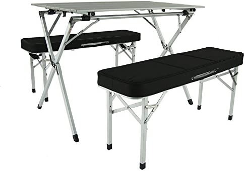 Crazy Sales Aluminum Portable Folding Roll Table Bench Set Black – Camping Table Outdoor Table Table Chair Set Foldable Table Tailgating rv Camping Gear Kitchen Table
