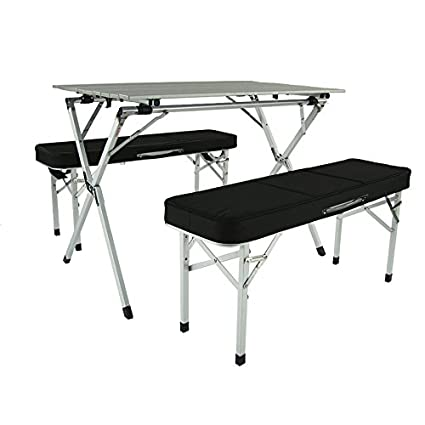 Stupendous Crazy Sales Aluminum Portable Folding Roll Table Bench Set Black Camping Table Outdoor Table Table Chair Set Foldable Table Tailgating Bralicious Painted Fabric Chair Ideas Braliciousco