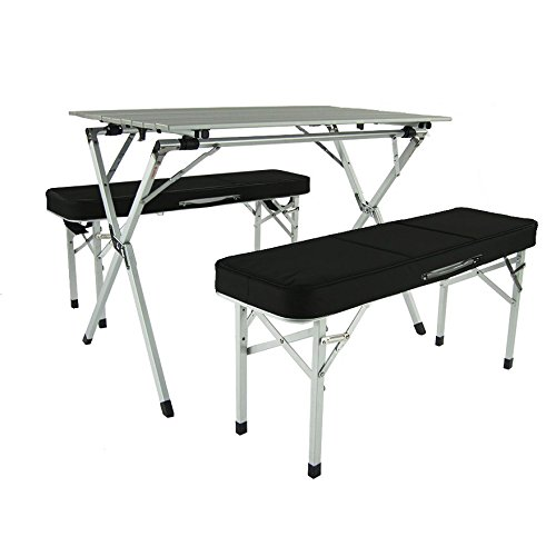 Crazy Summer Sales Aluminum Portable Folding Roll Table & Bench Set (Black) - Camping Table | Outdoor Table | Table Chair Set | Foldable Table | Tailgating | rv | Camping Gear | Kitchen Table