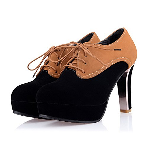 Vouge001 Womans Closed Toe Round Toe High Heel Suede Frosted Assorted Colors Pumps with Bandage Black GHAqohtD