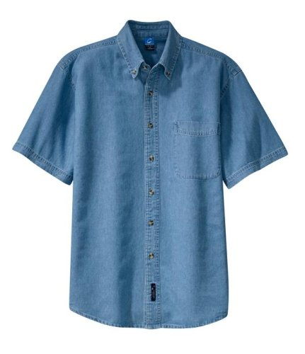 Port & Company Short Sleeve Denim Shirt (SP11) Medium Faded (Port & Company Oxfords)