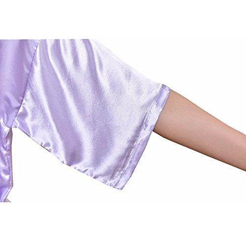 Vestaglie Bathrobe Robe Donne Spa Partito Pigiama Camicie Regalo Kimono Luce Massager Seta FY Imitazione Matrimonio Nightwear Lunghe Notte Accappatoio Sleepwear Da Viola Sauna 8np4xxgW