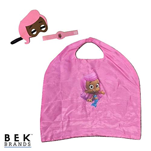 Bek Brands Bubble Guppies Kids Cape and Mask Set | Halloween Costume, Dress Up Play, Superhero Cape, Mask (Molly) -