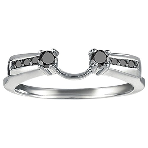 Black Diamonds Anniversary Ring Wrap Enhancer in 14k White Gold(0.31Ct) Size 3 To 15 in 1/4 Size Interval ()