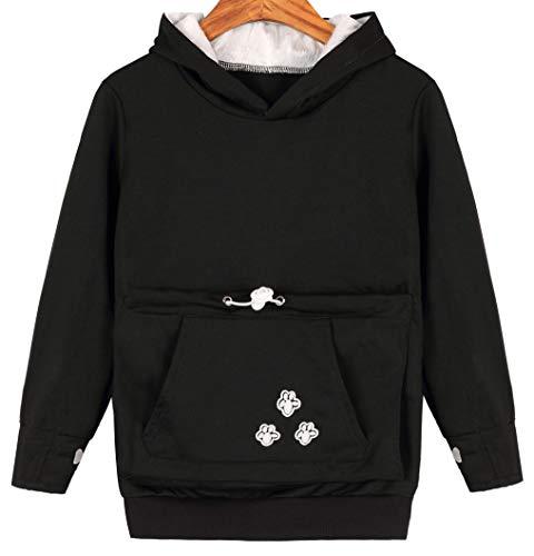 Teen Girls Pet Pouch Hoodies Kitten Puppy Holder Kangaroo Shirts Sweatshirt Top Black 160