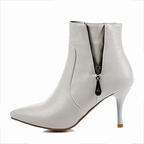 66e1177687e6d8 YE Damen Spitze Ankle Boots Stiefeletten Stiletto High Heels mit  Reißverschluss Elegant Schuhe Weiß ...