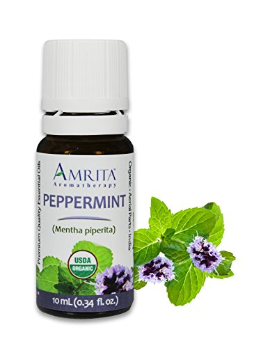 Amrita Aromatherapy Organic Peppermint Essential Oil, 100% Pure Undiluted Mentha piperita, Therapeutic Grade, Premium Quality Aromatherapy oil, Tested & Verified, 10ML
