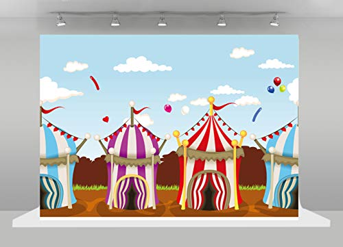 HUAYI Circus Backdrops for Party Carnival Photo Background Children Birthday Themed Banner Baby Shower Photo Booth 8x6ft -