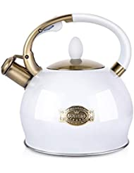 SUSTEAS Stove Top Whistling Tea Kettle-Surgical Stainless Steel Teakettle Teapot with Cool Toch Ergonomic Handle,1 Free Silicone Pinch Mitt Included,2.64 Quart(WHITE)