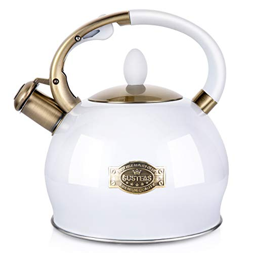 (SUSTEAS Stove Top Whistling Tea Kettle-Surgical Stainless Steel Teakettle Teapot with Cool Toch Ergonomic Handle,1 Free Silicone Pinch Mitt Included,2.64 Quart(WHITE))