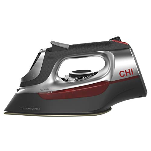 CHI (13102) Steam Iron with Retractable Cord, Electronic temperature controls, 1700 Watts, Titanium Infused Ceramic Soleplate & Over 400 Steam Holes, Professional (Best Iron With Titanium Anti)
