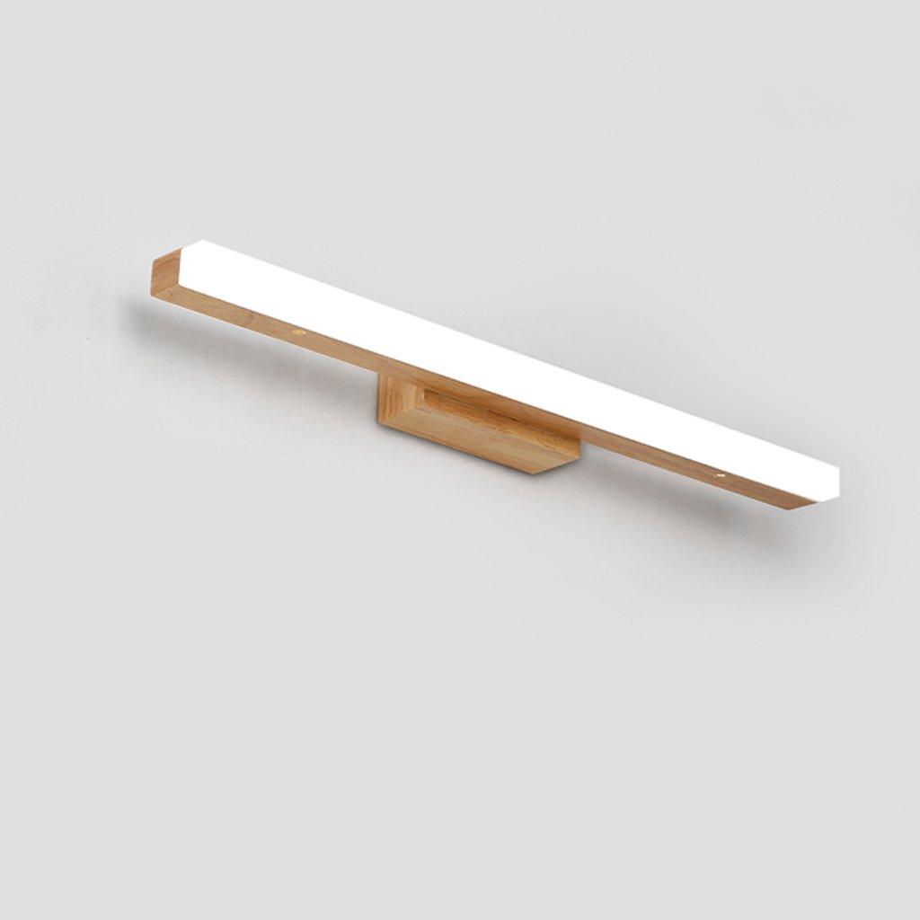 Solid Wood, Mirror Light, LED Wall Washer, Mirror Light Cabinet Light, Bathroom Simple Dresser Wall Light, Warm Light (Size : 60CM 10W) by Mingteng (Image #4)