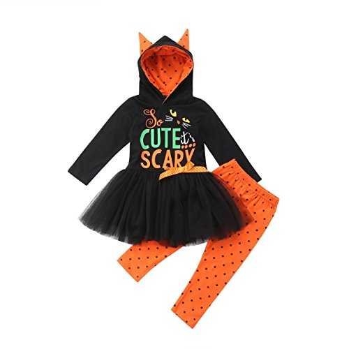Toddler Baby Girl Halloween Costume Cute Scary Hoodies Tops Tutu Lace Skirt+ Polka Dot Pants Outfits Clothes Set (Black Orange, 3-4 Years) -