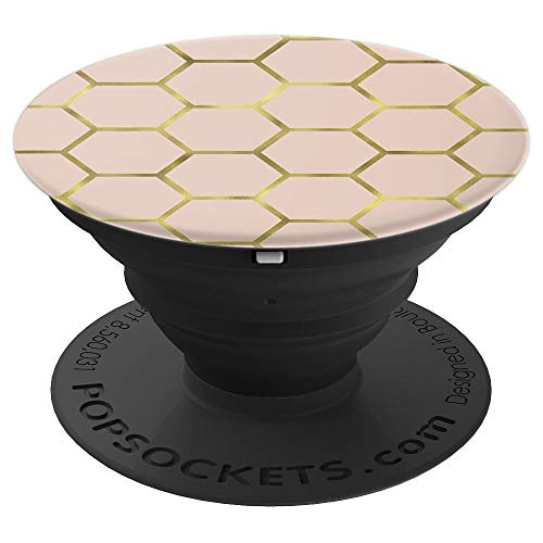 (Gold Geometric Pattern on Pink Soccer PACJ0402 - PopSockets Grip and Stand for Phones and Tablets)