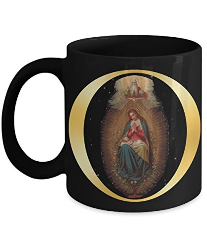Gift for Catholic! Blessed Virgin Mary & Holy Trinity 11 or 15 oz Black Mug For Mom Dad Friend -