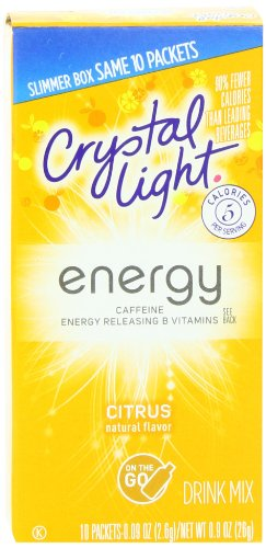 Crystal Light On The Go Energy Citrus, 10 Count Boxes (Pack of 12)