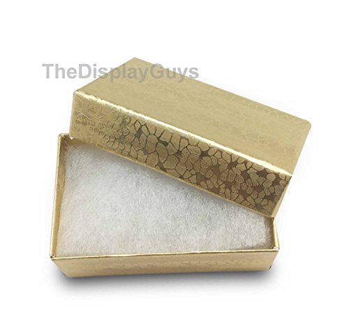 (The Display Guys~ Pack of 100 Cotton Filled Cardboard Paper Gold Jewelry Box Gift Case -Gold Foil (2 5/8x1 1/2x1 inches #21))