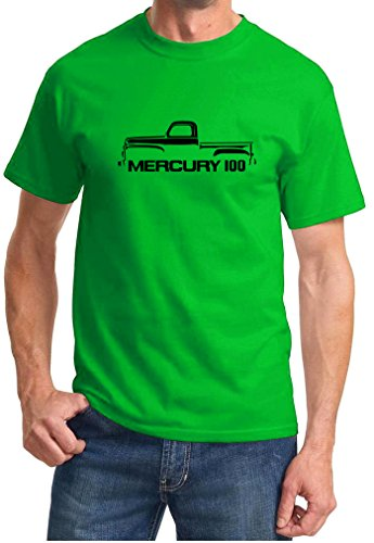 1952-56 Mercury 100 Classic Pickup Truck Outline Design Tshirt small green