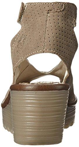 Fly Londra Donna Yala Traforato Sandalo Con Zeppa Kaki / Kaki