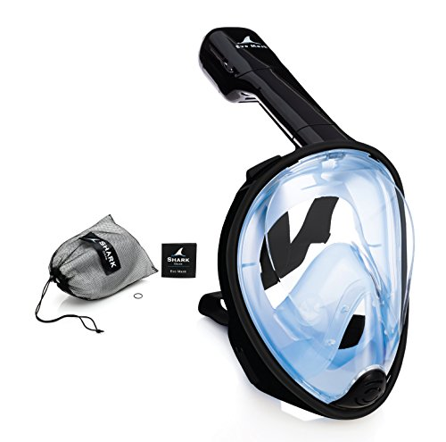 SeaFin Mask Full Face Snorkel Mask Technology. Tubeless Design. Anti-Fogging, Anti-Leaking. Adult and Youth Sizing. (L/XL) (Black-Blue) (Shark Snorkel compare prices)