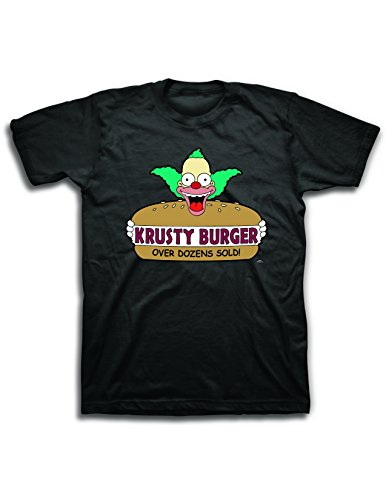 Mens' Krusty the Clown Shirt - The Simpsons Krusty Burger Logo Tee - The Simpsons Graphic T-Shirt (Famous Halloween Phrases)