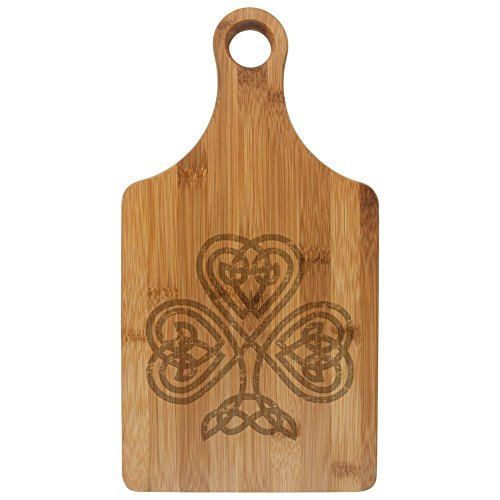 St Patrick's Day Celtic Knot Shamrock Etched Bamboo Cutting Board Rawhide Standard One Size