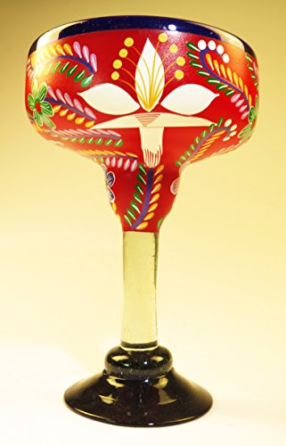 Mexican Margarita Glass XXL Painted POP Red 54 Oz. by Mexican Margarita Glasses