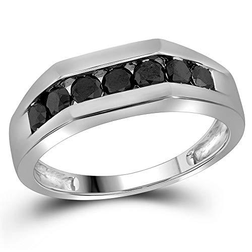 Jewel Tie - Size 10.5 - Solid 10k White Gold Men's Round Black Diamond Band Wedding Anniversary Ring 1.00 Cttw.