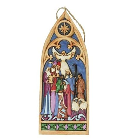 Jim Shore for Enesco Heartwood Creek Cathedral Window Nativity Ornament, 5.375