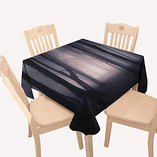 Farm House Decor Outdoor Picnics Path Through Dark Deep in Forest with Fog Halloween Creepy Twisted Branches PicturePink and Brown Square Tablecloth W54 xL54 inch ()
