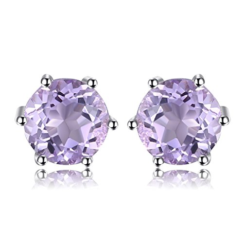 - JewelryPalace Round 0.9ct Natural Amethyst Stud Earrings Solid 925 Sterling Silver