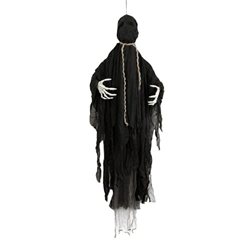 Halloween Haunters Life-Size Animated Hanging Faceless Speaking Reaper Prop Decoration - 4 Phrases, Moving Arms, Death by Hanging Noose - Battery Operated